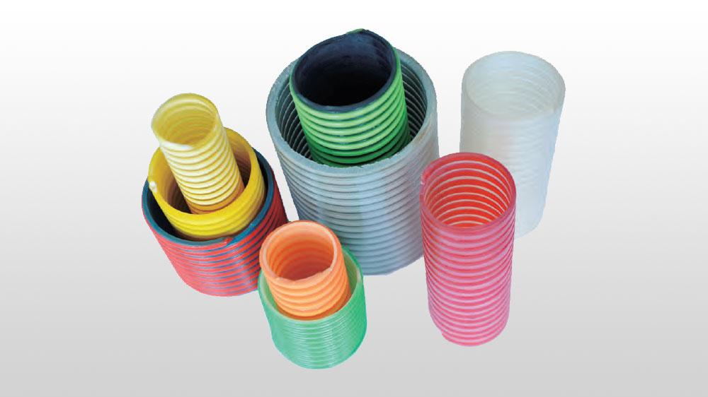 Spiral reinforced hose with PVC plastic ribs
