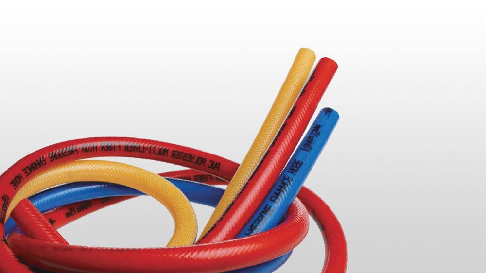 PVC高强度涤纶纤维增强三胶两线高压喷射软管